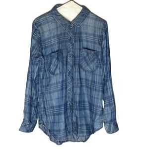 Rails Carter Denim Plaid Button Up Shirt